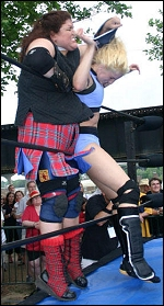 Kiley McLean shows no concern for her opponents. Here she is smashing fellow G.L.O.R.Y. Girl Kameo in the back of the head with a brick concealed in her arm sling!